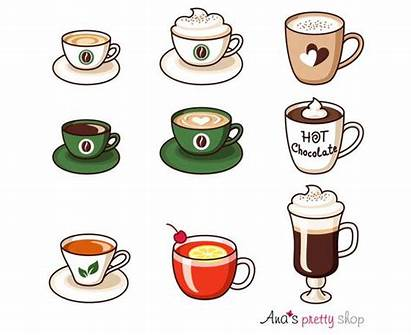 Espresso Clip Beverage Clipart Drinks Coffee Cups