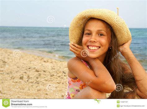 Preteen Girl On Sea Beach Stock Image Image Of Look 14421707