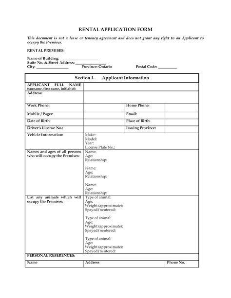 ontario rental application form legal forms  business