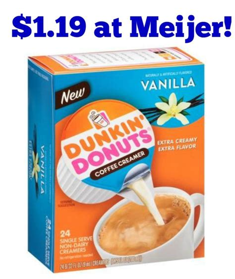 Buy two dunkin donuts coffee creamer 2/$7 (regularly $3.99 each) total = $7 pay $7 get back $1.50 from ibotta when you buy any variety dunkin donuts 32oz creamer (limit 5) x2= $3 (exp 8/20)! Meijer: Dunkin' Donuts Coffee Creamer Singles Only $1.19! - Become a Coupon Queen