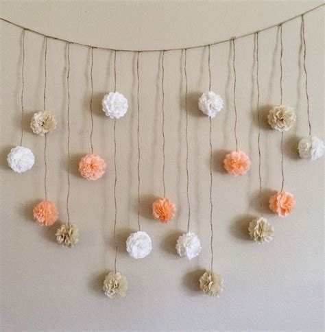pom pom garland peach and creams tissue paper flowers