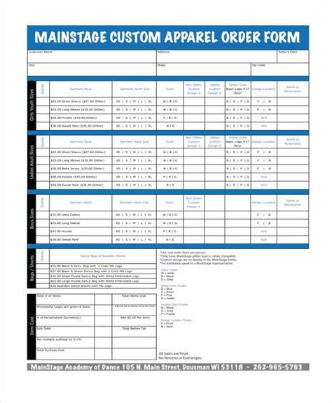 sample order forms   excel ms word