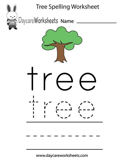 preschool tree spelling worksheet