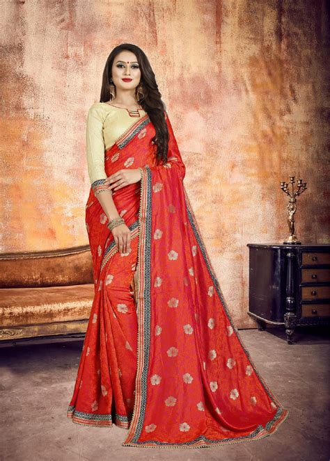 Dazzling Red Color Party Wear Saree | Vastraqueen