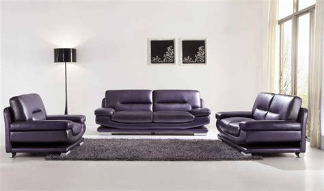 Purple Contemporary Sofa by Chic Modern Esf 2757 Purple Italian Leather Sofa Set