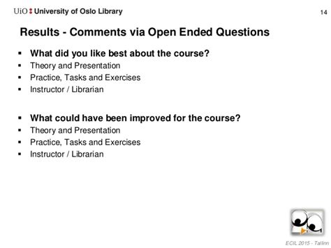 What Did You Like Least About Your by Evaluation Of Designing Information Literacy For Heath