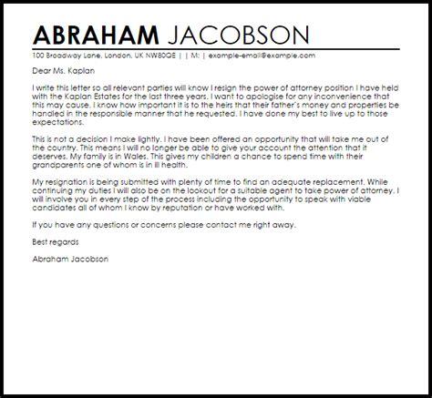 power  attorney resignation letter  letter