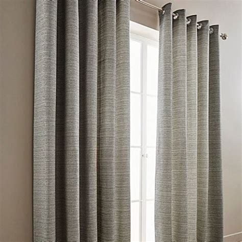 Grey   Mila Boucle Tweed Effect Lined Ring Top Curtains