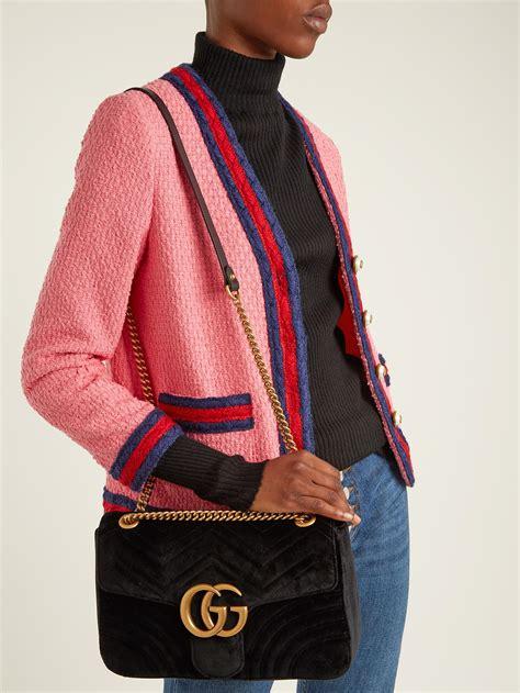 gucci gg marmont medium quilted velvet shoulder bag