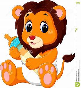 Cute baby lion cartoon stock vector. Illustration of ...