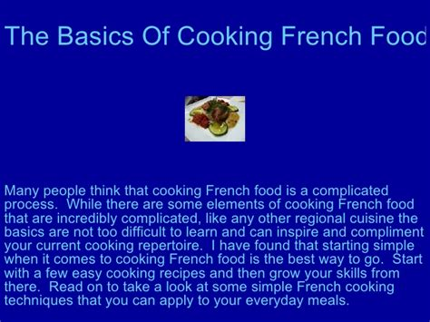 the basics of cooking food