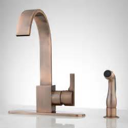 copper faucet kitchen aster kitchen faucet with side spray antique copper ebay