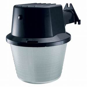 Utilitech head watt black cfl dusk to dawn flood