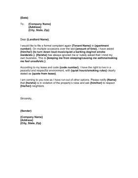 letter      formal complaint