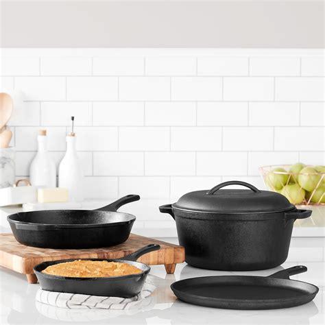 cast cookware seasoned iron amazon pre piece amazonbasics pots pans kitchen
