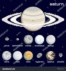 Retro Minimalistic Set Of Saturn And Moons (Eps10); Stock ...