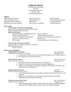 psychology assistant resume exles general resume clinton d hoard