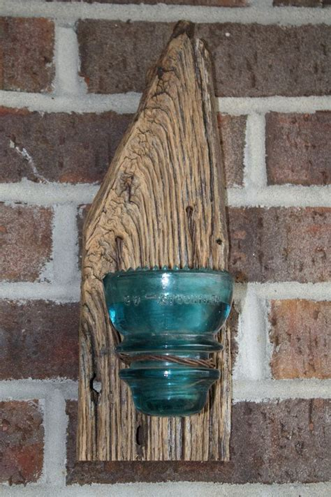 barn wood recycled candle sconces  large blue vintage