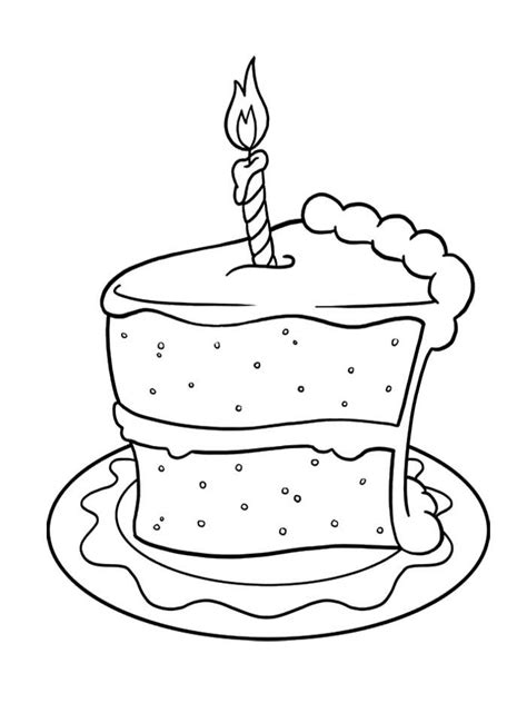 pictures slice  cake birthday coloring pages spanish