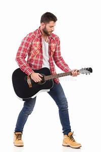 Man Playing The Black Acoustic Guitar Stock Image - Image ...