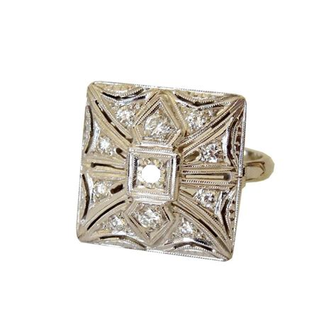 1940 s deco square top 14k and ring from