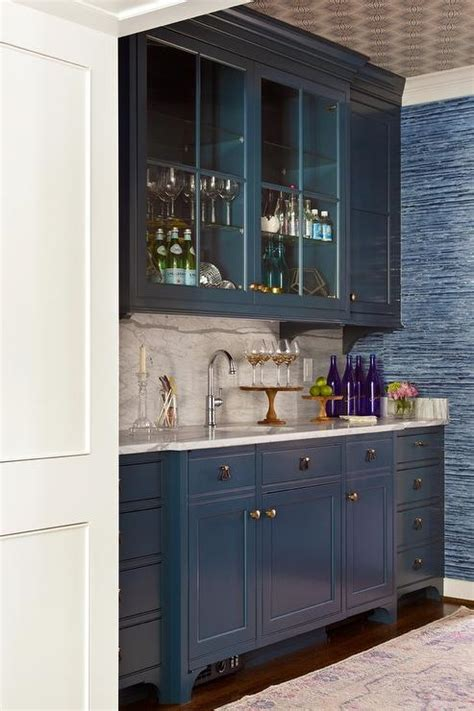 Blue Wet Bar Cabinets With Brass Hardware  Transitional