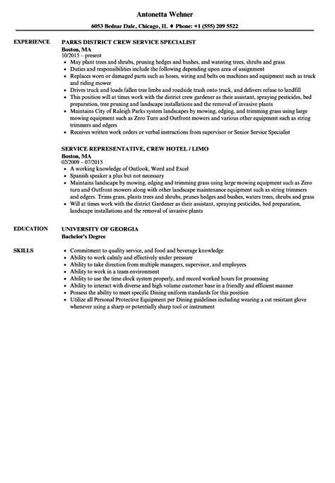 Duties Of A Crew Member by Curriculum Vitae Service Crew Service Crew Resume