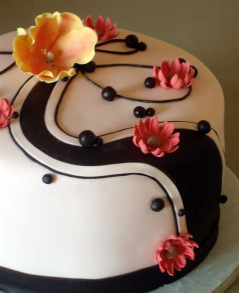 It will make your cake extra unique and elegant! Mother's Birthday Cake with chocolate swirls   Flickr - Photo Sharing!