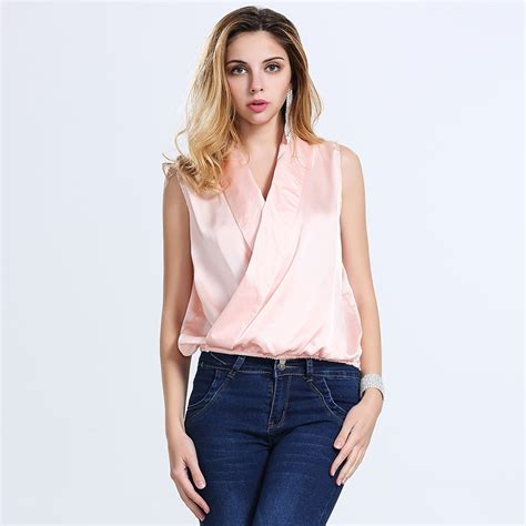 womens plus size blouses 2016 summer womens v neck silk satin blouse fashion