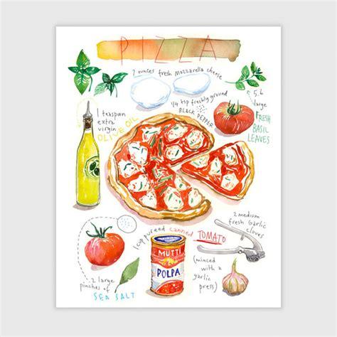 cuisine en italie pizza recette illustrée aquarelle décoration cuisine