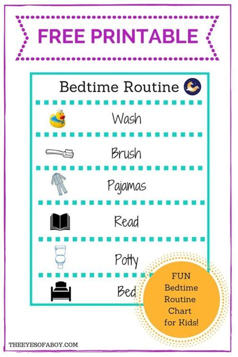 printable bedtime routine chart   kids