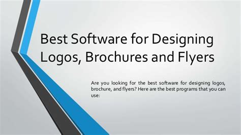 Software For Designing Brochures by Best Software For Designing Logos Brochures And Flyers