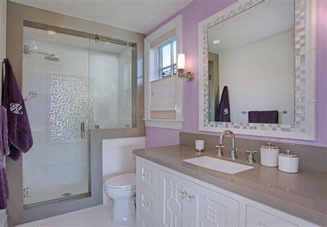 Purple Girls Bathroom With Mosaic Tile Mirror