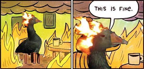 This Is Fine Meme Template by This Is Fine Goose On Fire Fire Duck Know Your Meme
