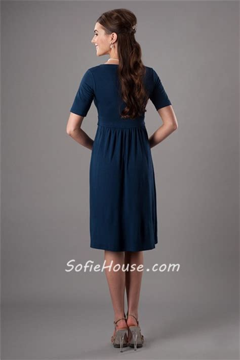 modest scoop neck short sleeves navy blue bridesmaid dress