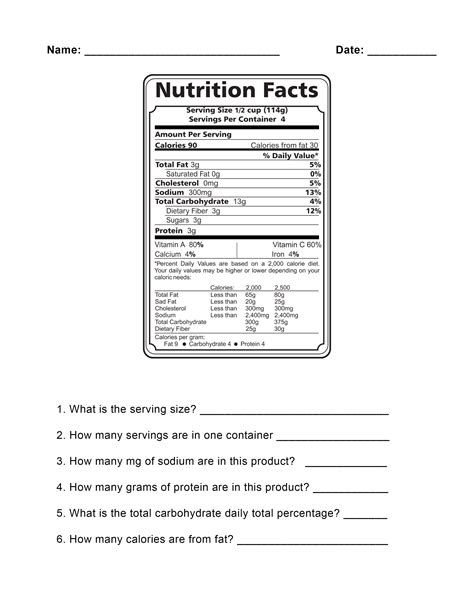 food label worksheet free worksheets library