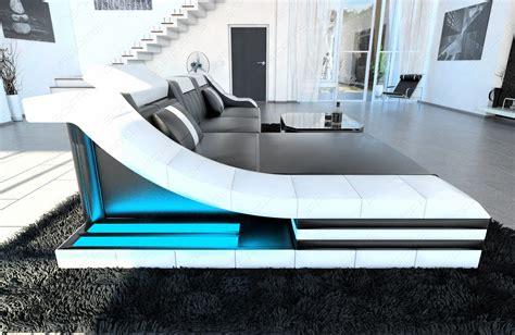 Leather Sectional Sofa Turino L Shape With Led Lights