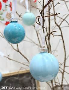 diy super easy opaque glass painted ornaments blue christmas the happy housie