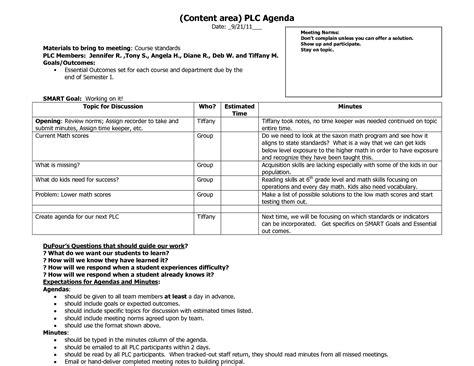 plc agenda template   agenda templates agenda
