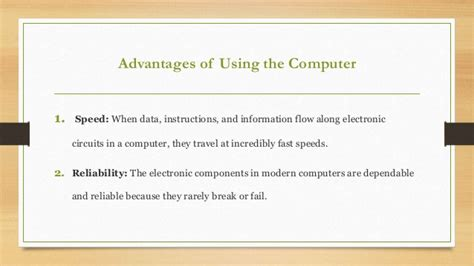 Advantages of disadvantages of using the computer