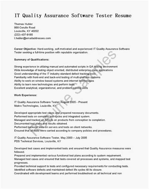 great sle resume resume sles it quality assurance