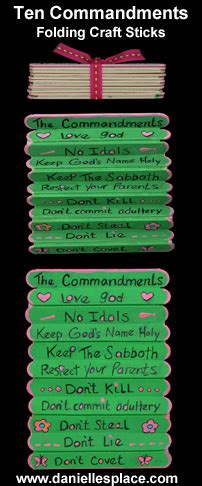 ten commandments crafts and for sunday school and 10 | Ten Commandments folding craft stick craft