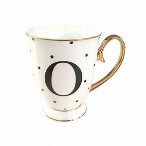 limited edition alphabet spotty mugs With gold letter mug