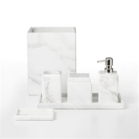 Modern Black And White Bathroom Accessories by Waterworks Studio Quot White Marble Quot Bath Accessories