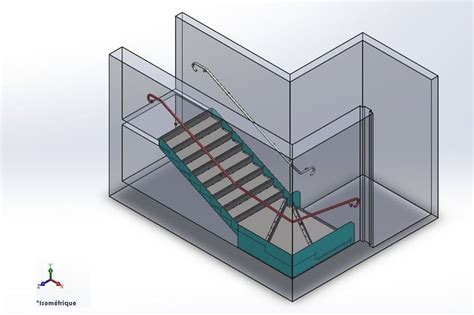 escalier quart tournant solidworks 3d cad model grabcad