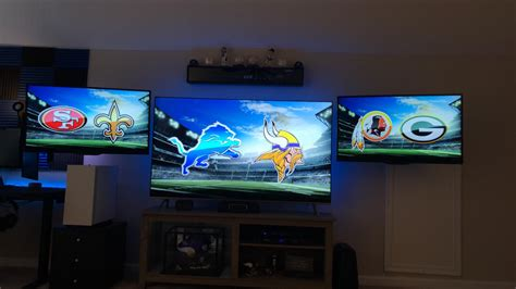 setup cave ticket nfl sunday soundbar directv samsung floor separate receivers completed each mini mancave comments polk insignia sides 3rd