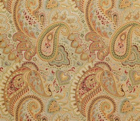 Drapery Fabric By The Yard by Upholstery Derby Gold Paisley Chenille Drapery Fabric Sold