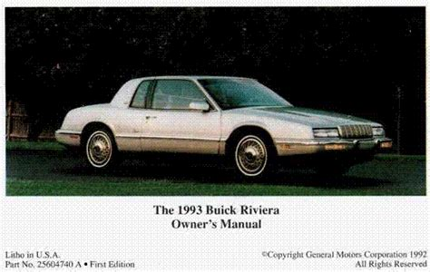 car manuals free online 1992 buick riviera auto manual buick riviera 1993 owners manual ebook free owner manual