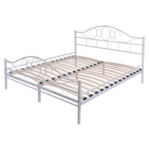 bed frame slats white steel bed frame with wood slats and arched headboard