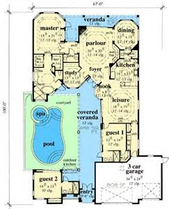 Images Home Plans Center Courtyard Pool by House Plans And Design House Plans With Pool Courtyard